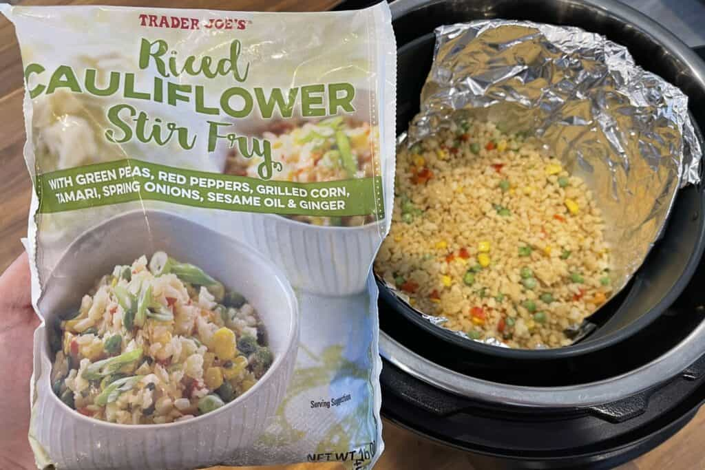 how to cook Trader Joe's riced cauliflower stir fry in the air fryer