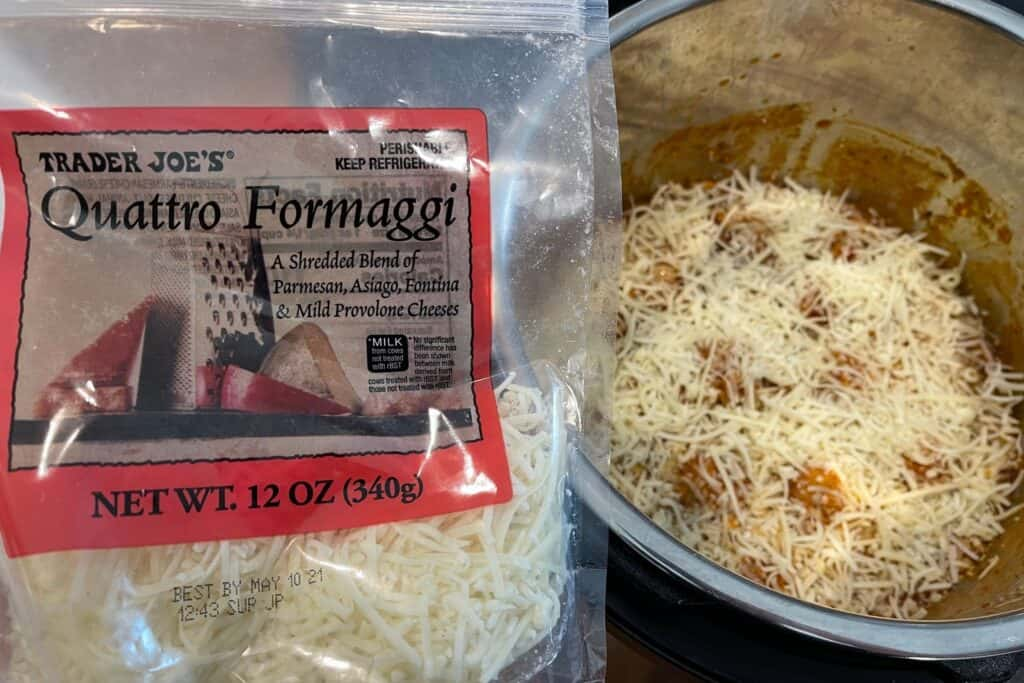 trader joe's quattro formaggi on top of the meatballs and rice