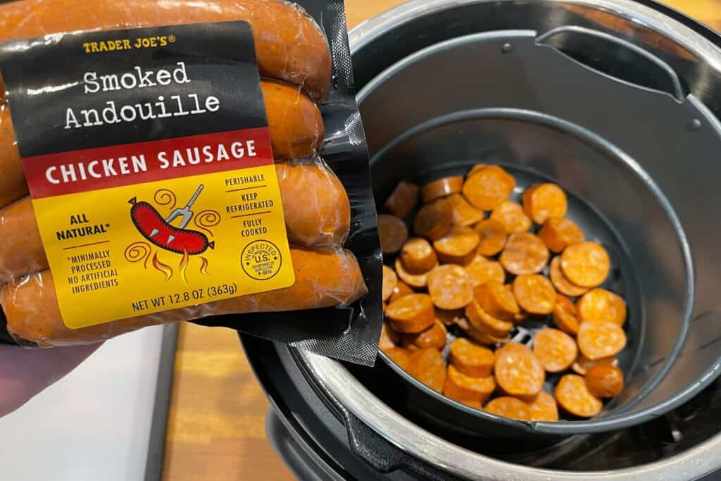 trader joe's smoked andouille chicken sausage in the instant pot air fryer
