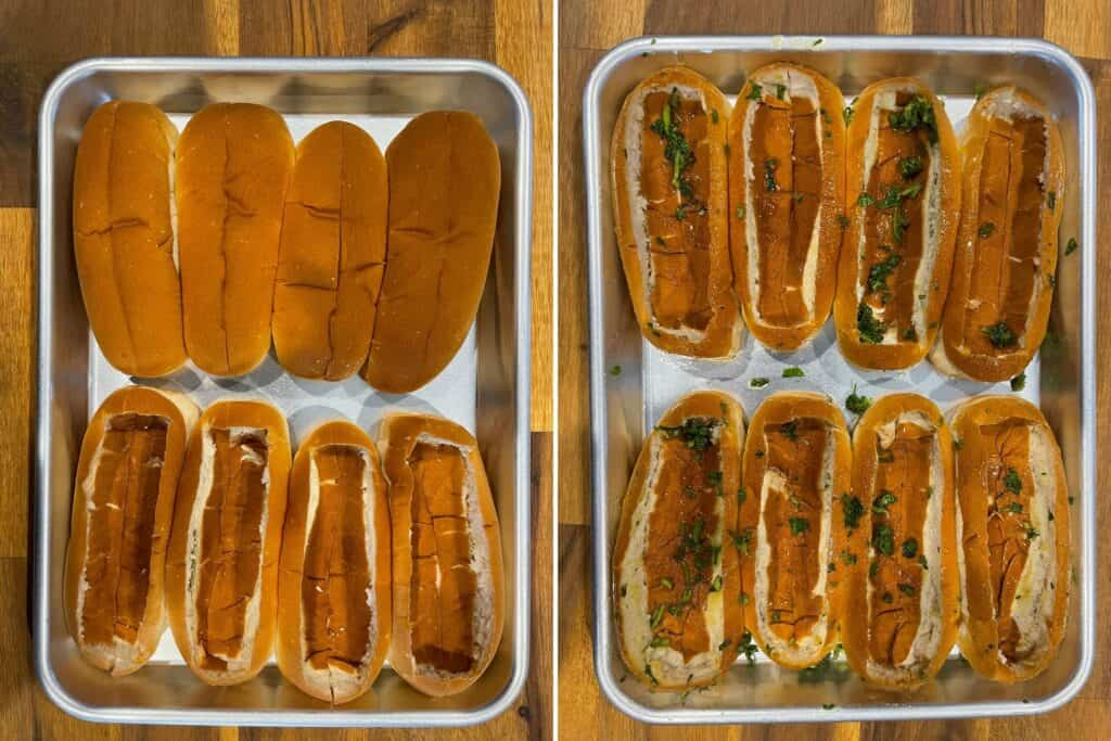 hot dog buns hollowed out and brushed with olive oil, parsley, and garlic powder