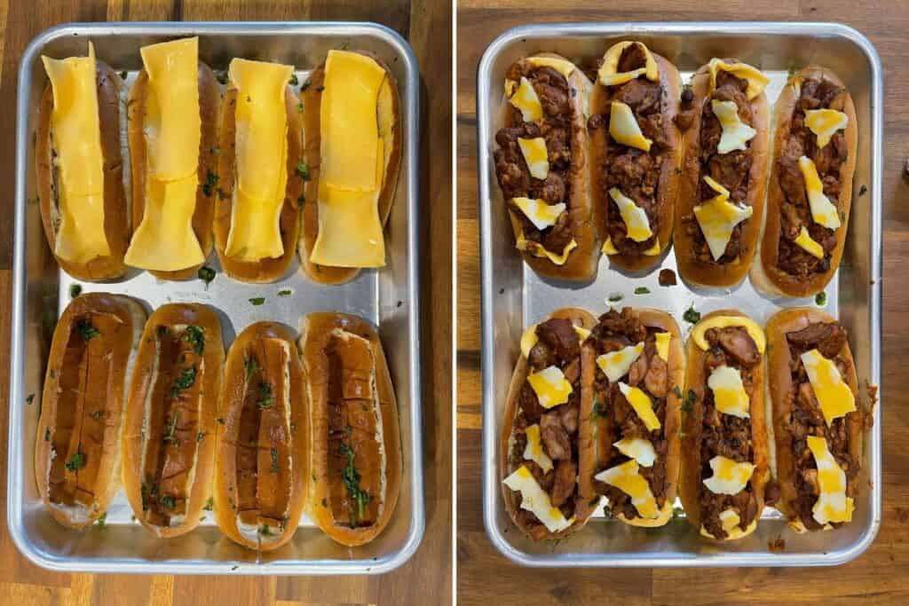 American cheese slices inside baked hot dog buns and filled with the chili dog mixture
