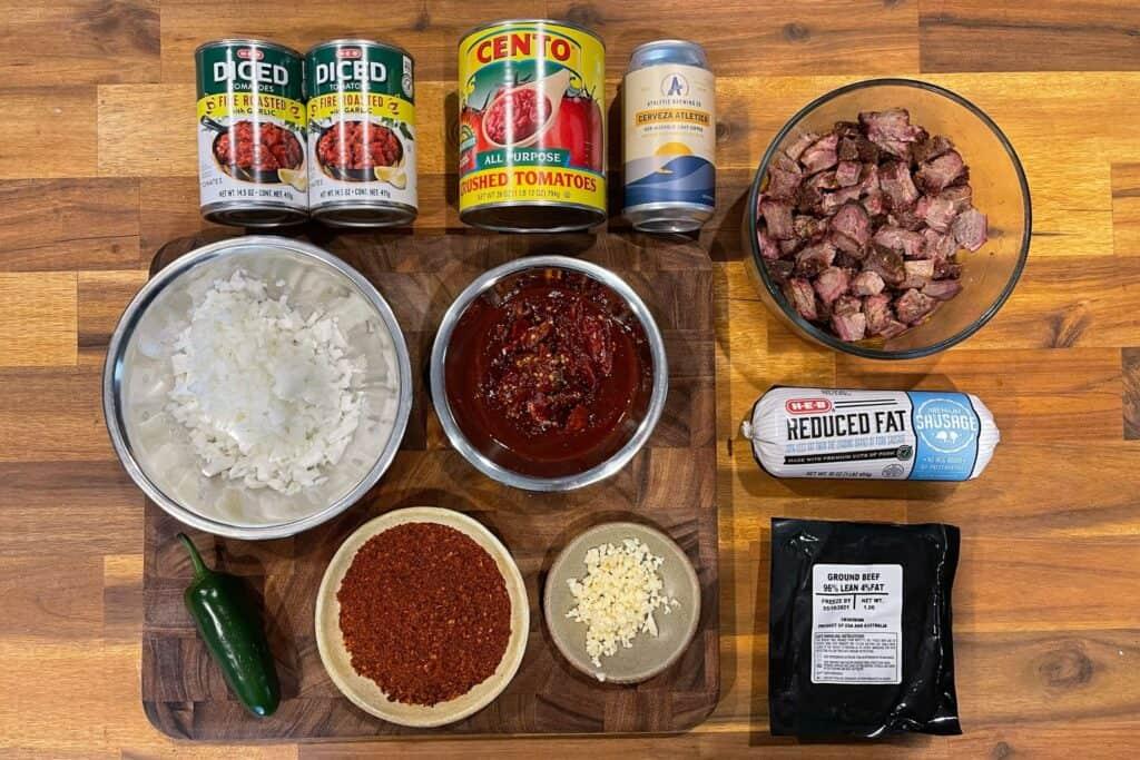 Texas chili ingredients
