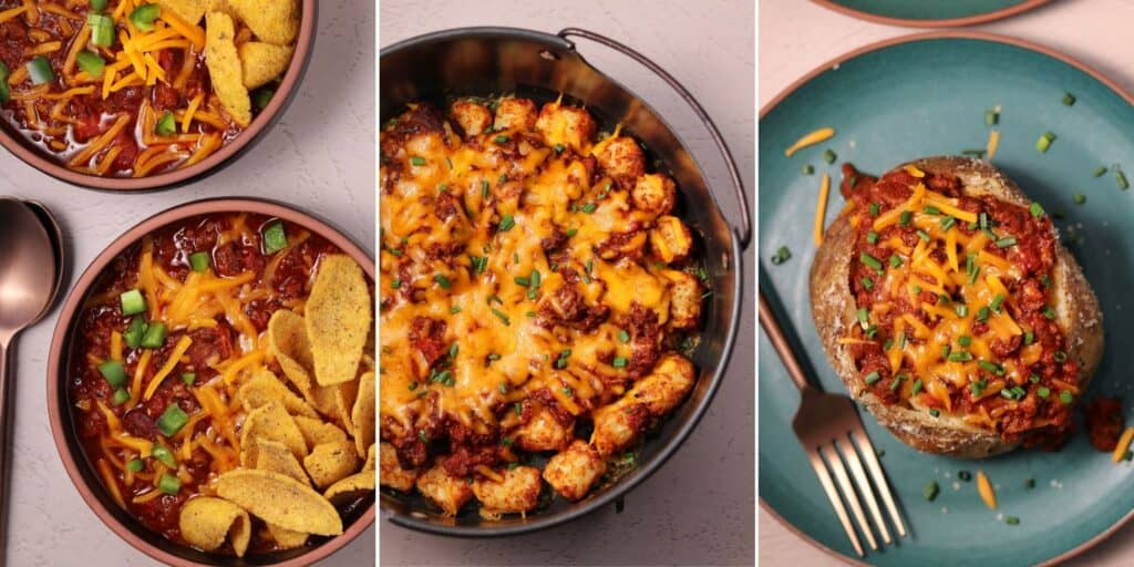 Texas chili in bowls with corn dippers and cheddar cheese, chile cheese tater tots, and chili cheese stuffed baked potato
