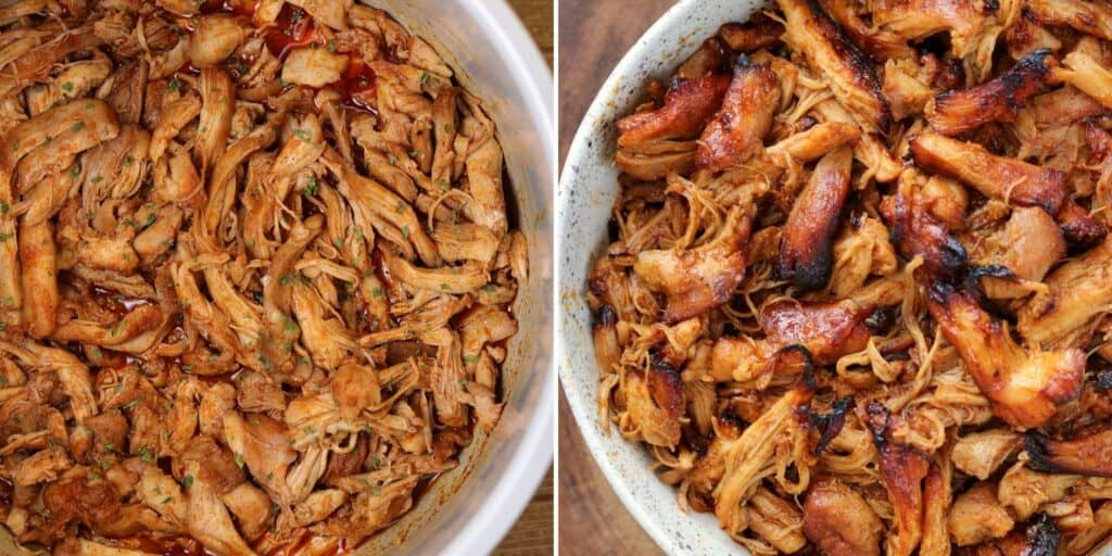 two batches of bbq pulled chicken thighs