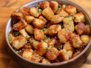 roasted cauliflower gnocchi in a bowl