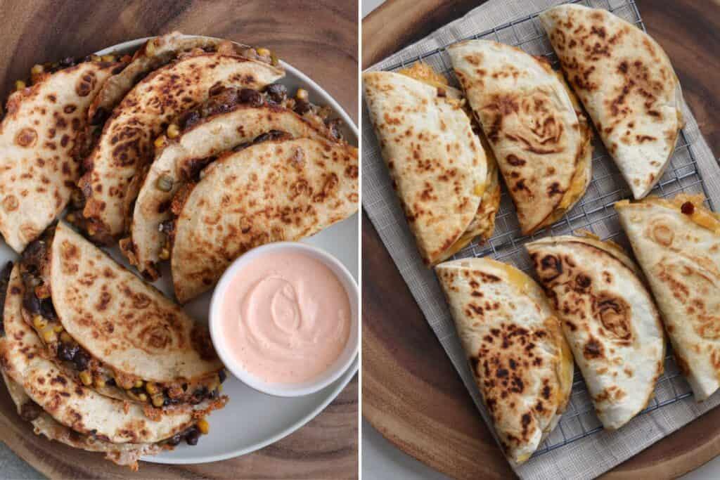 black bean quesadillas and chicken bacon ranch quesadillas