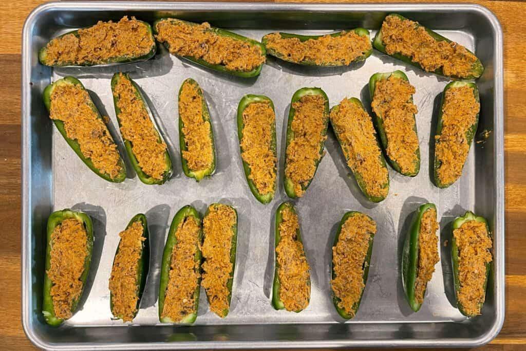 chorizo stuffed jalapeño pepper halves