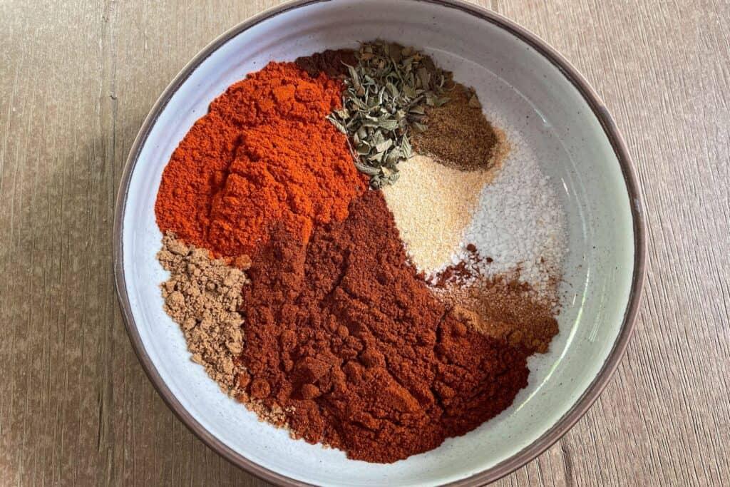 chorizo seasoning ingredients in a bowl