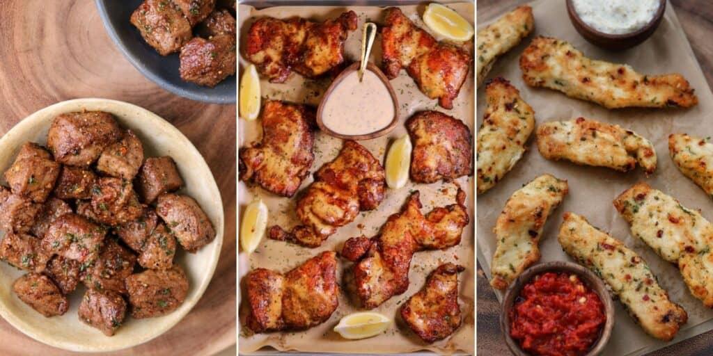 air fryer steak bites, bbq smoked chicken thighs, and garlic parmesan chicken tenders