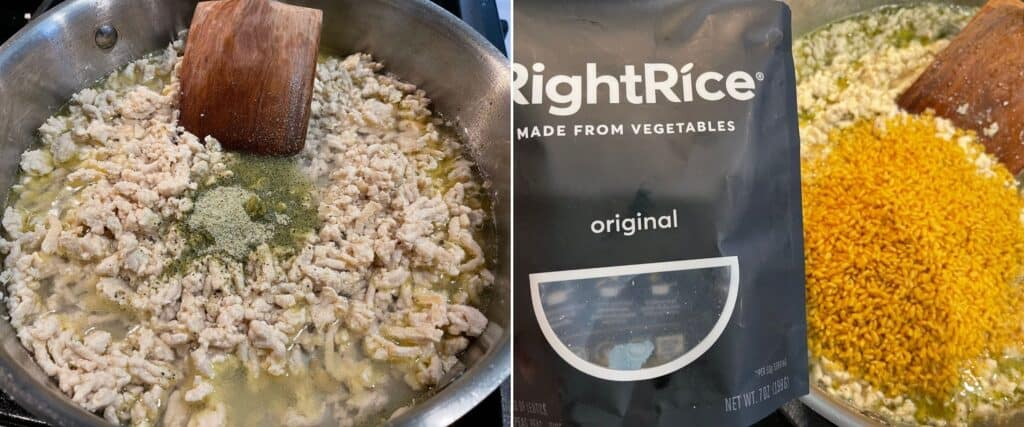 ground chicken, Right Rice, and Greek seasoning
