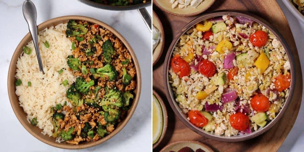 ground chicken and broccoli with Greek ground chicken and rice
