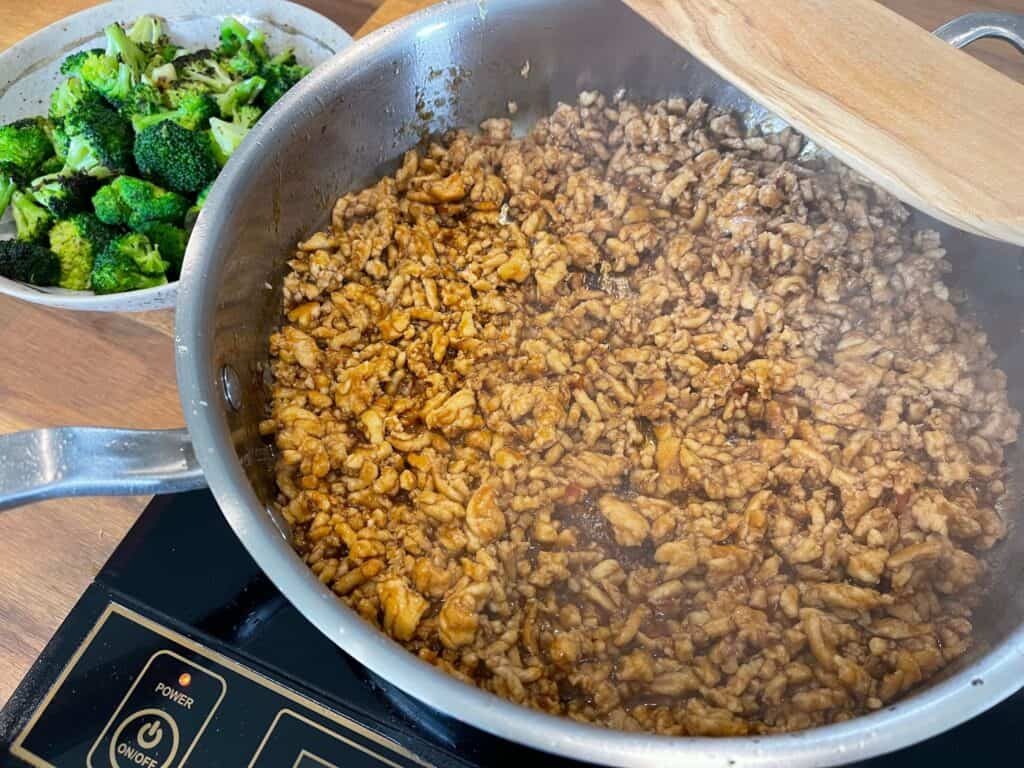 cooked ground chicken and honey sriracha sauce in the pan before adding the roasted broccoli