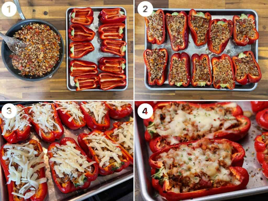 filling and baking the Italian stuffed peppers