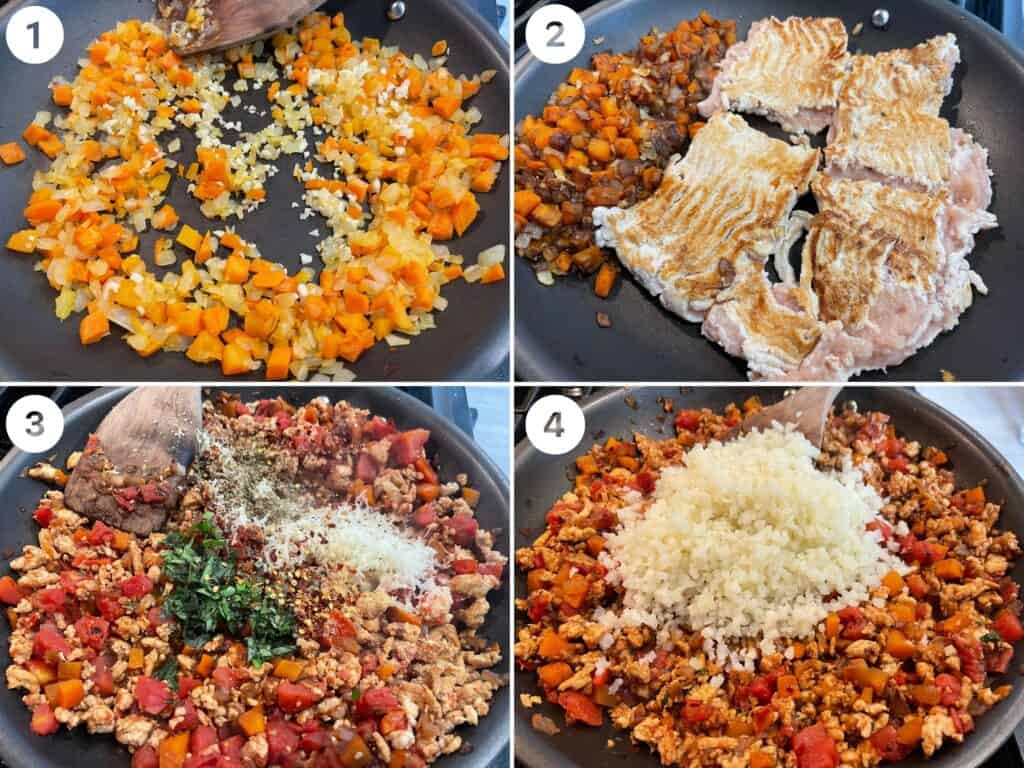 steps 1-4 of making the filling for Italian stuffed peppers