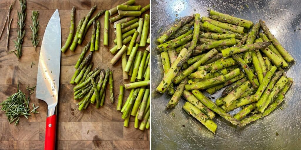 trimmed asparagus and rosemary leaves on a cutting board