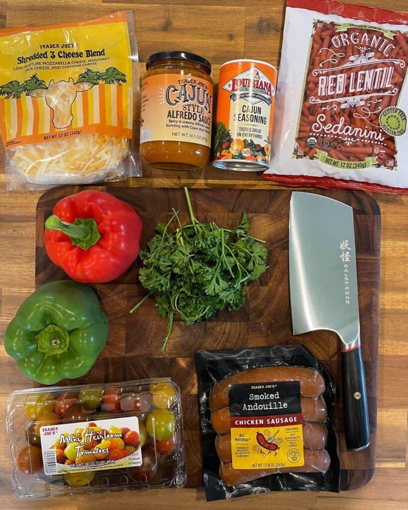 ingredients for smoked cajun sausage pasta