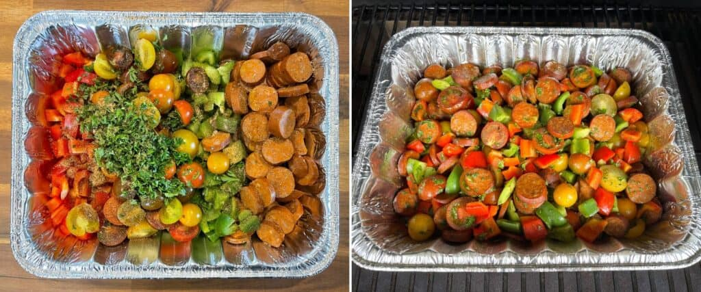 sliced chicken sausages, bell pepper, parsley, and halved mini heirloom tomatoes in a foil pan