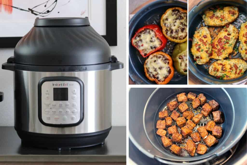 Instant Pot Duo Crisp air fryer with stuffed peppers and twice baked potatoes