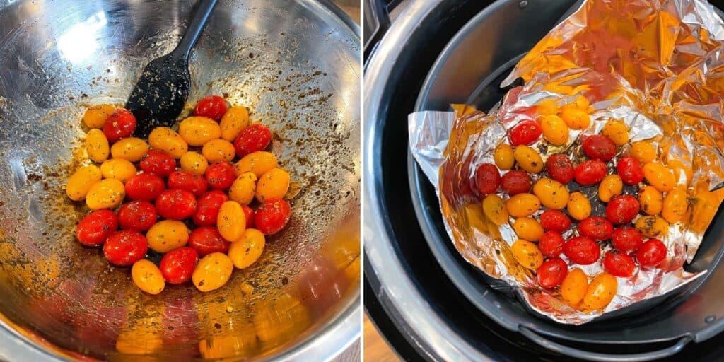 seasoned tomatoes in a foil lined air fryer basket