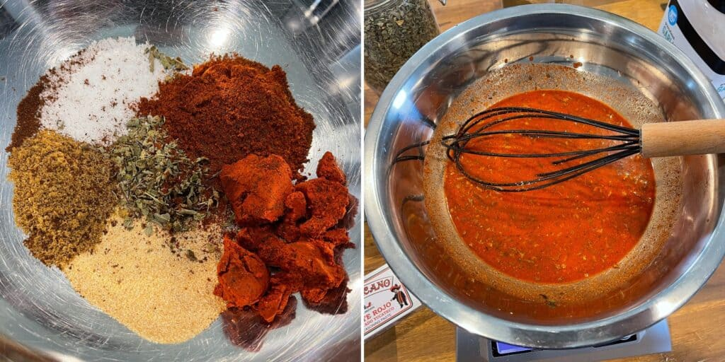 dried spices, herbs, and achiote paste before and after mixing with orange juice, lime juice, and vinegar