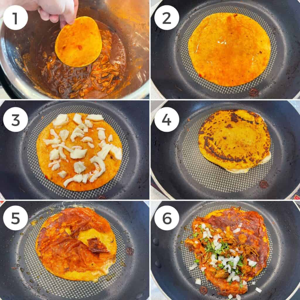 six photos showing how to make quesatacos
