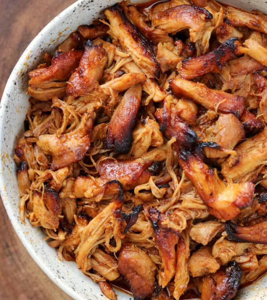 crispy pulled BBQ chicken in a bowl