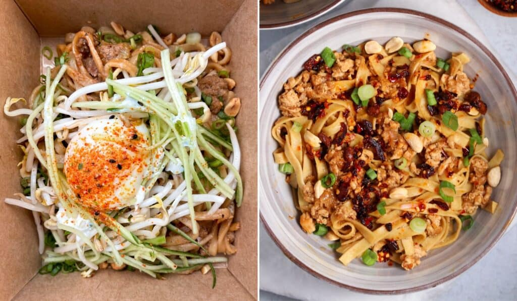 Dan Dan Noodles from The Peached Tortilla beside my version