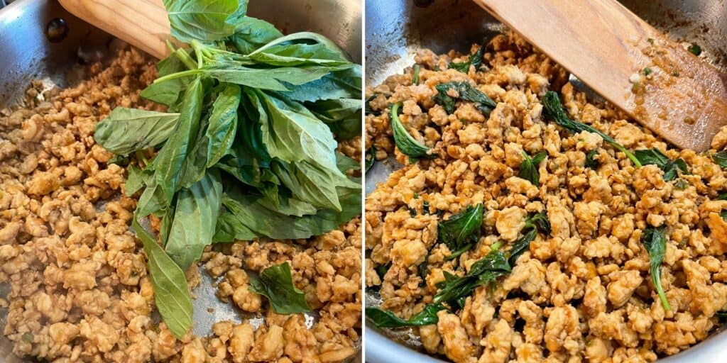 cooked ground chicken in a skillet with basil before and after wilting