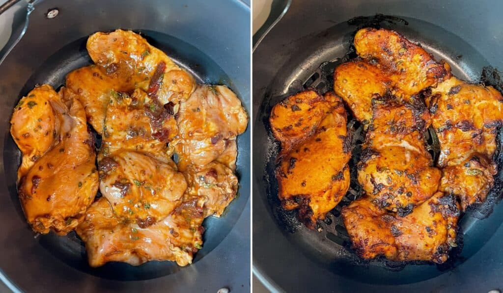 cooking marinated chicken thighs in an air fryer