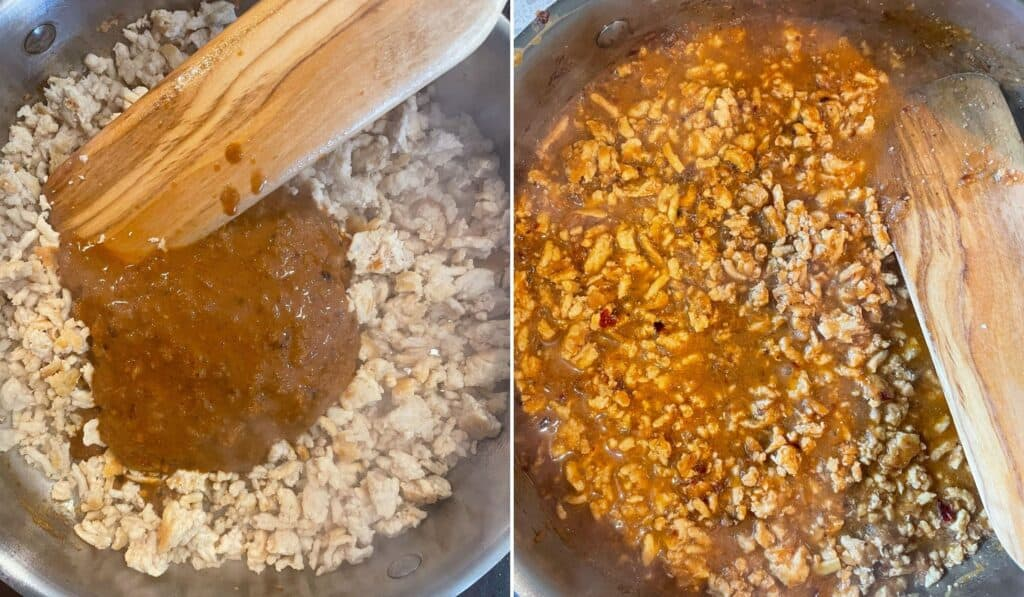 before and after adding the spicy peanut sauce to the cooked ground chicken