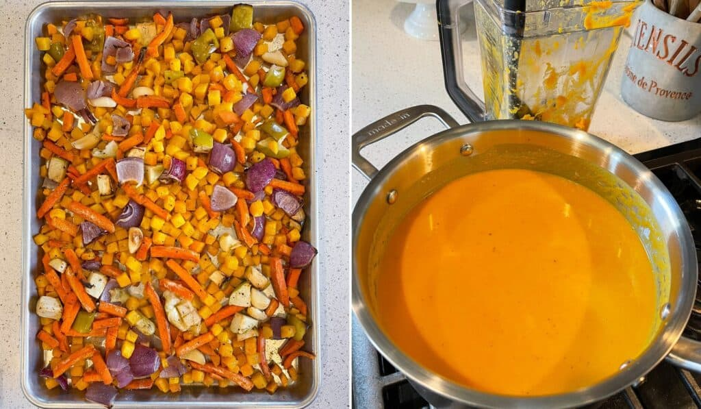 roasted butternut squash, carrots, red onion, apple, and garlic cloves on a half sheet pan before blending into soup