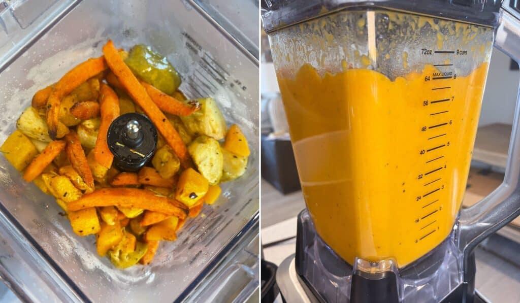roasted vegetables in a blender