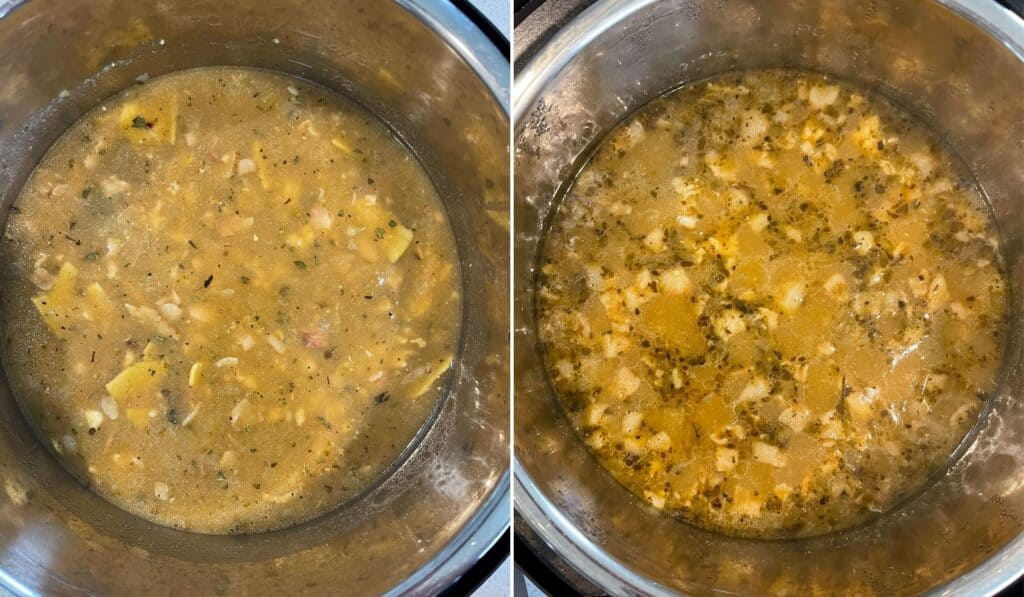 the ground chicken soup before and after pressure cooking for 20 minutes