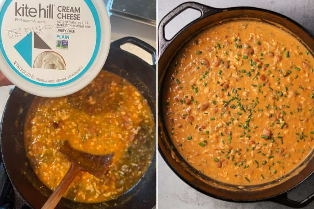 kite hill cream cheese before and after adding to the chili