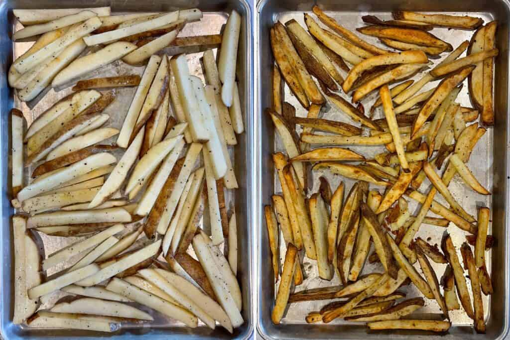 baked fries on a half sheet pan