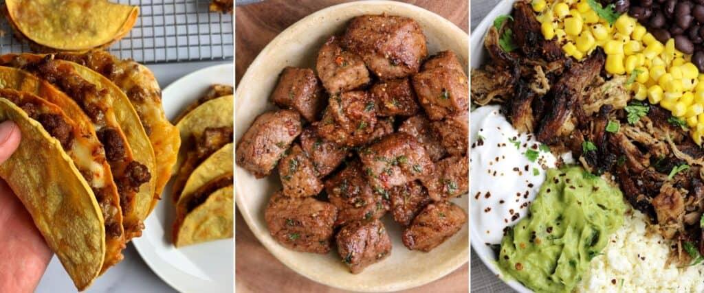baked beef tacos, garlic butter steak tips, carnitas bowls