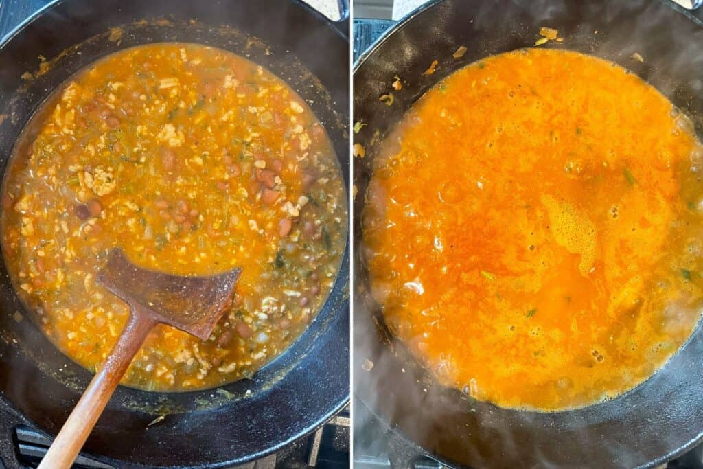 boiling and simmering the chicken chili