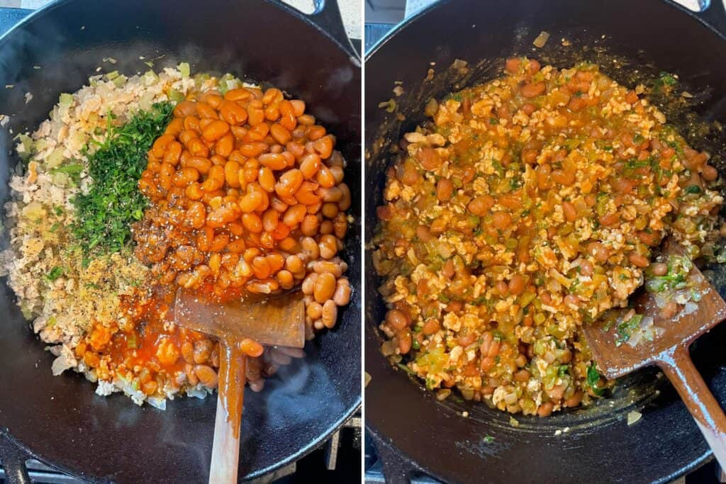 adding beans, herbs, buffalo sauce, and seasoning to cooked ground chicken, onion, and celery