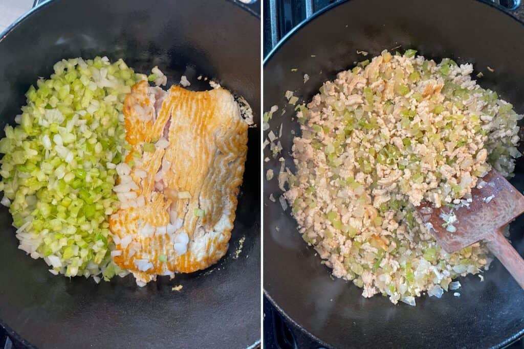browned ground chicken cooking with onion and celery