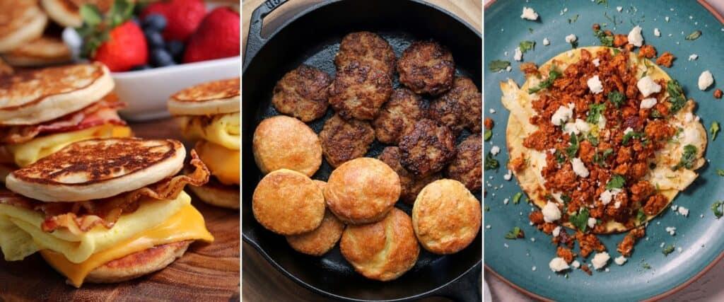 copycat mcgriddles, chicken breakfast sausage patties with Greek yogurt biscuits, and ground chicken chorizo taco