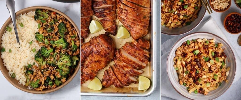 ground chicken and broccoli, smoked chicken breast, and chicken dan dan noodles