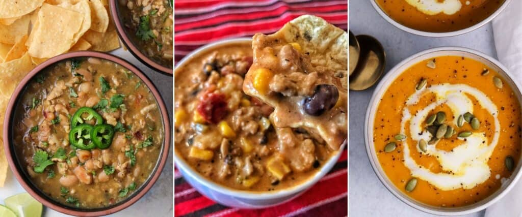 white bean chicken soup, creamy taco soup, and butternut squash soup